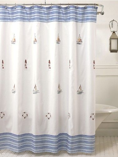 Curtain Bath Outlet Annapolis Embroidered Nautical Fabric
