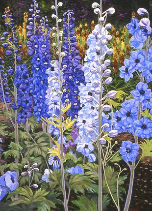 Bold Botanical Acrylic Paintings: Northwest Garden Paintings by Carol Sims
