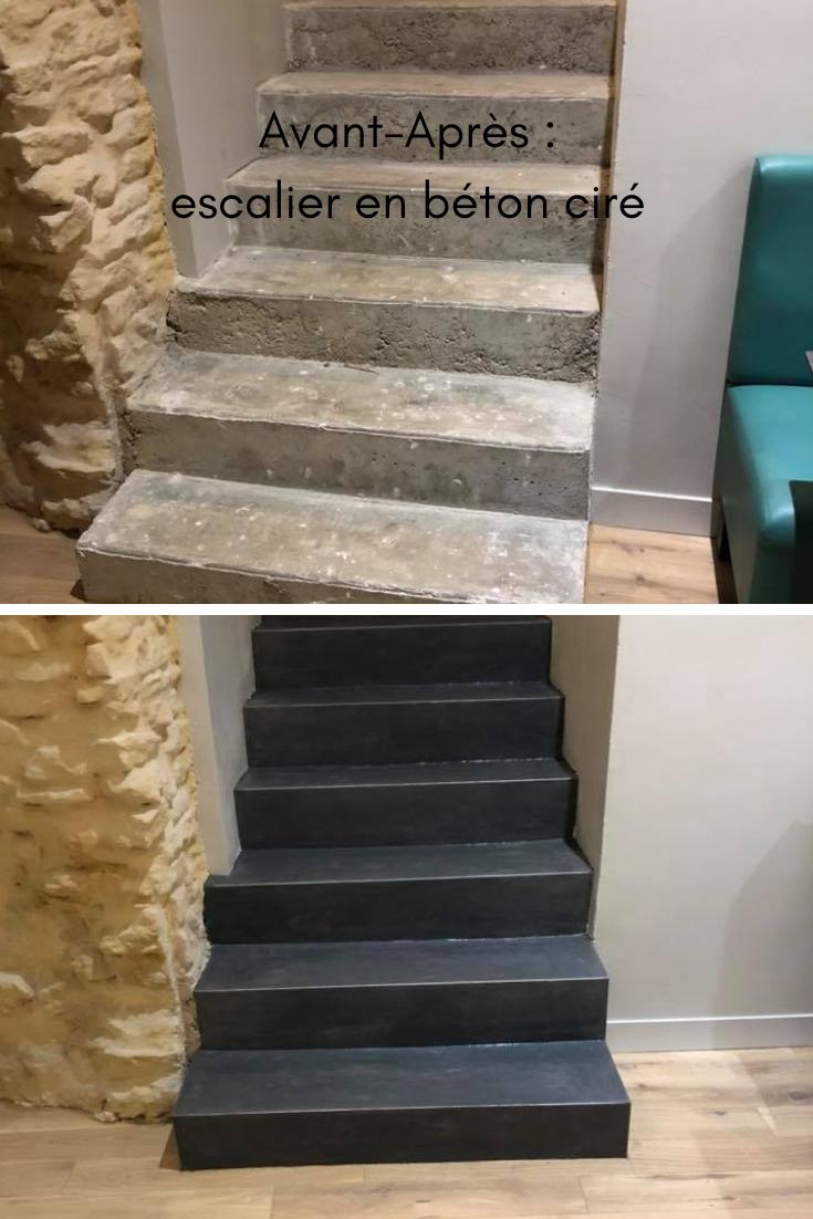 Modernisez Vos Escaliers Avec Un Revetement Enduit Beton Cire Escalier Escalier Beton Habillage Escalier Beton