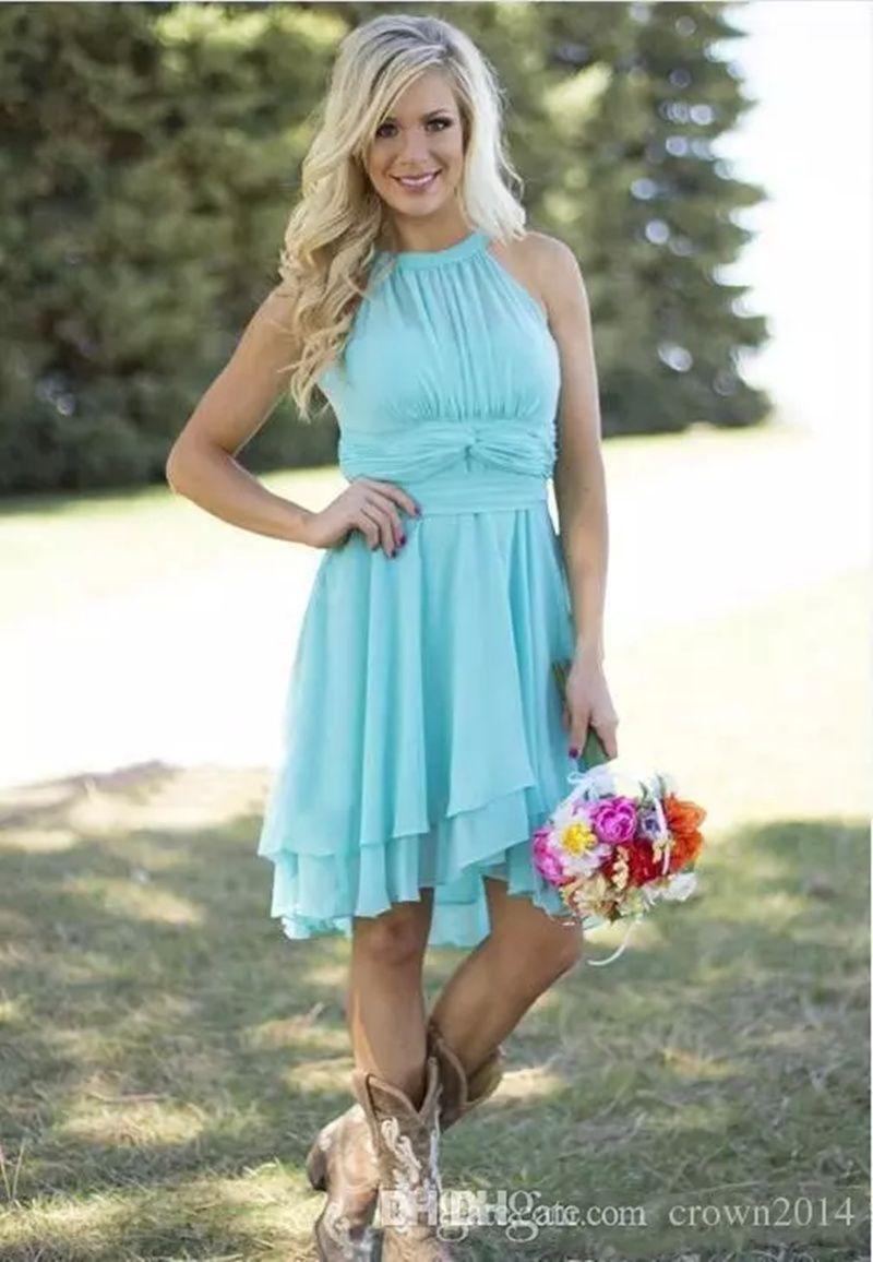 Click to Buy << 2017 Modest Short Bridesmaid Dresses Light Sky Blue ...