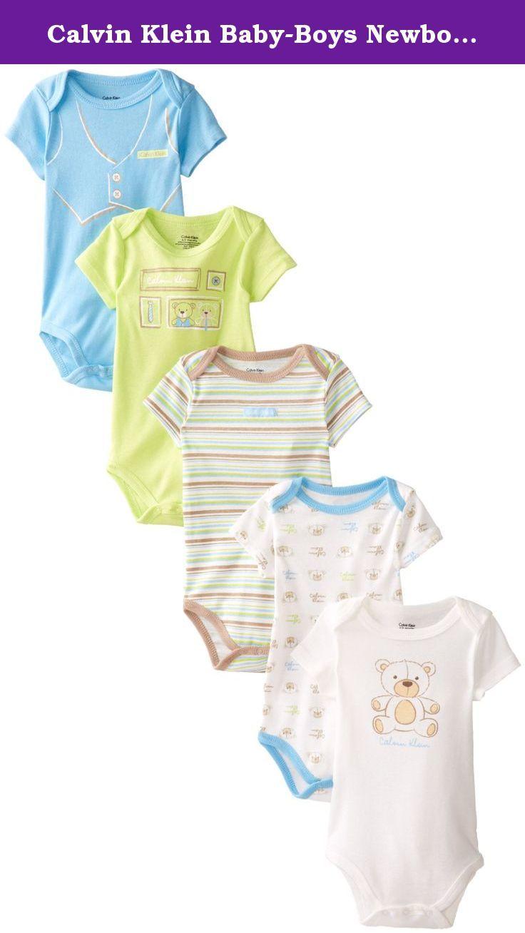 59b9dff1f Calvin Klein Baby-Boys Newborn 5 Pack Bodysuit, Blue, 0-3 Months ...
