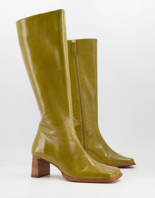 Asos Design Cali Premium Leather Heeled Knee Boots In Green Asos Leather Heels Boots Knee Boots