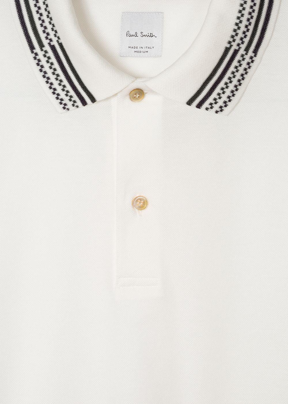 Men's Slim Fit White Cotton Piqué Polo Shirt With Stripe