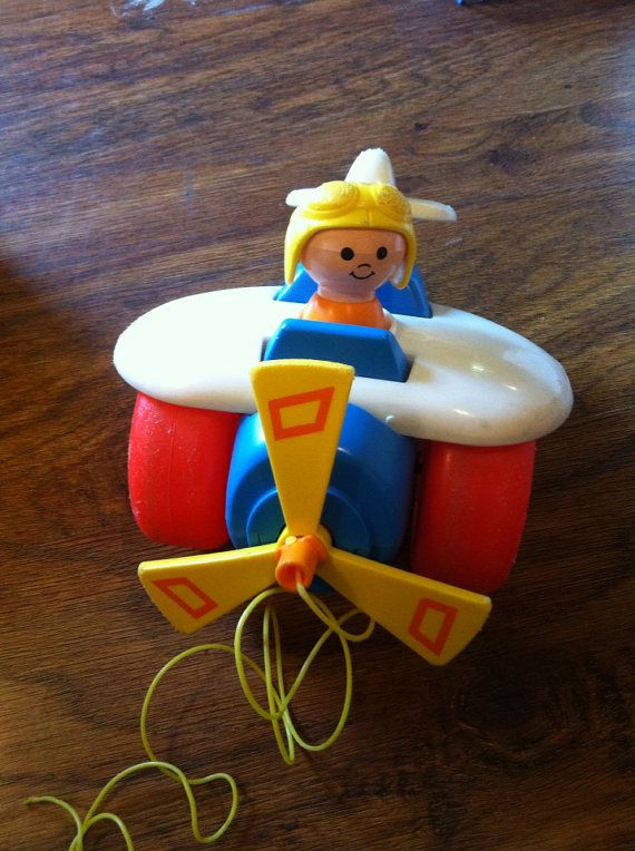 1980 Fisher Price Pull along plane on Etsy, $6.00