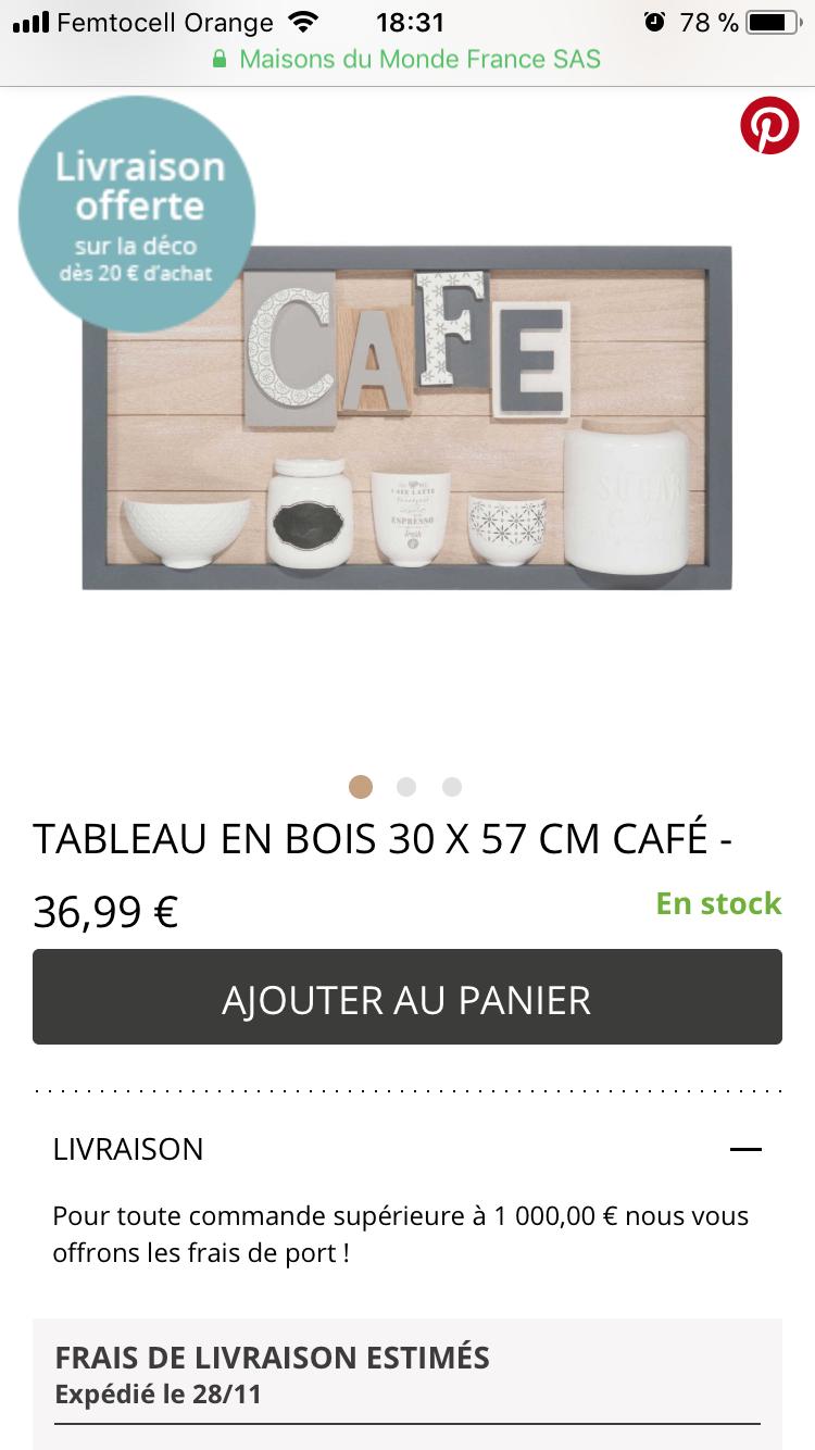 Tableau Caf Maison Du Monde Pour La Cuisine Id Es Cadeaux