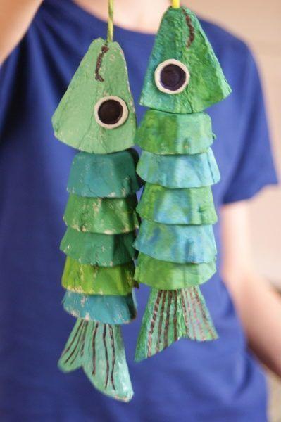 Rybki z opakowanie po jajkach | Lato i wakacje | prace plastyczne, edukacyjne #recycledart