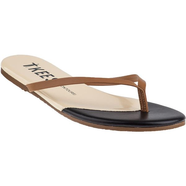 TKEES Contours Flip Flop Dark Horse Leather (£38) ❤ liked on Polyvore featuring shoes, sandals, flip flops, dark horse leather, real leather shoes, multi color shoes, multi colored sandals, horse leather shoes and tkees sandals