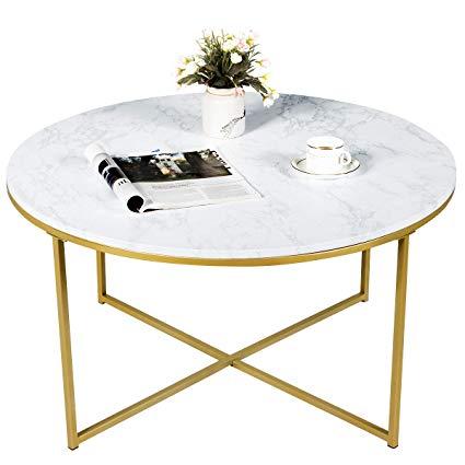 Amazon Com Giantex Coffee Table Round Adjustable W Gold Print
