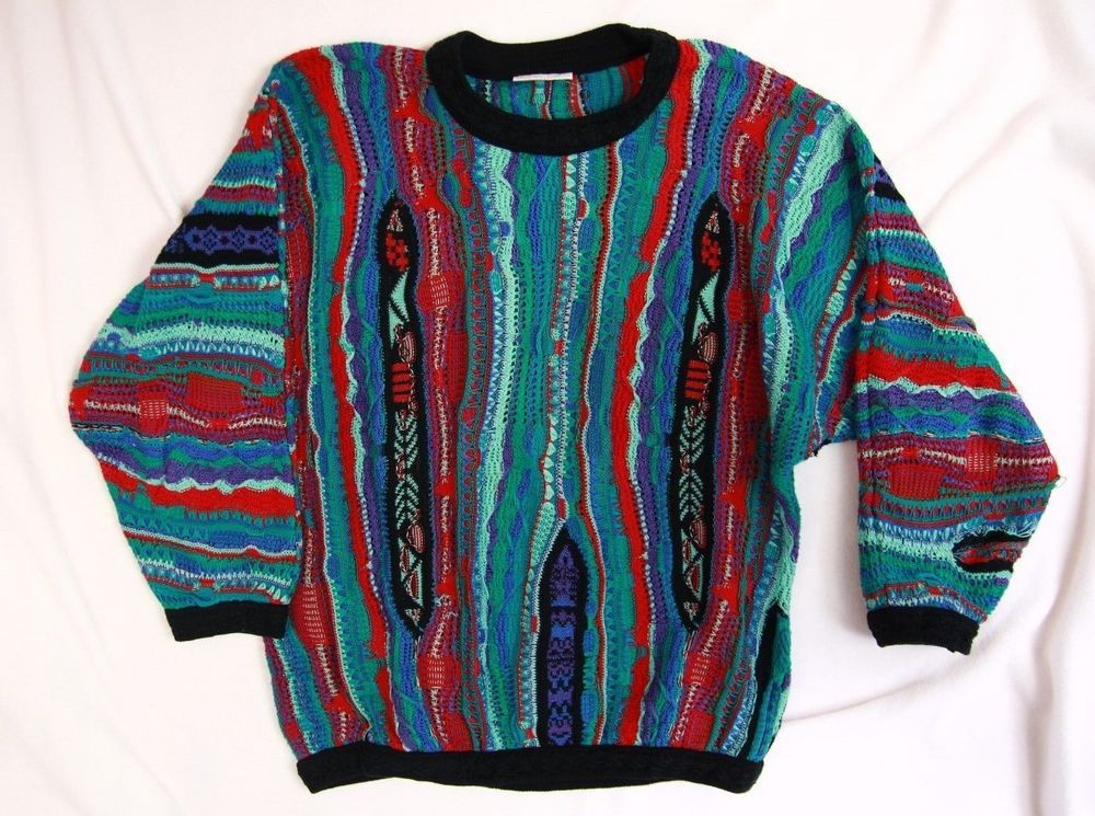 Coogi Men's Vintage Sweater M Medium Teal Red Black Crewneck ...