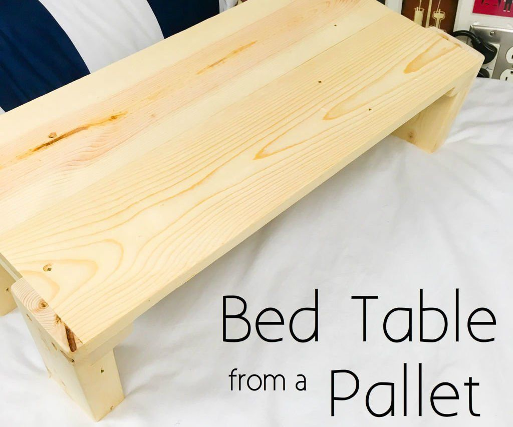 Bed Table From A Pallet Diy Table Wood Table Diy Bed Table