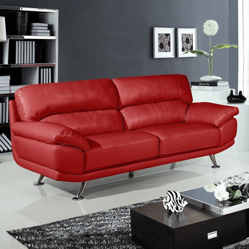 Small Red Leather Sofas: Regent 3 Seater Settee Vibrant Red Leather Sofa