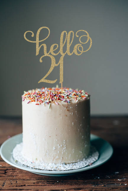 Hello 21 Birthday Cake Topper 21st Decorations Party 21s