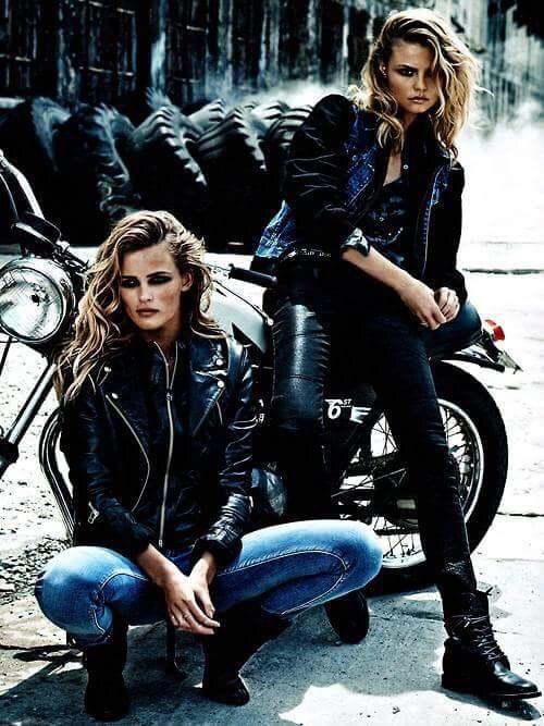 Biker look | Mulher motociclista, Idéias de moda e