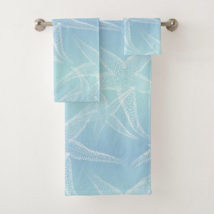 Starfish Aqua Blue Beach Towel Set Home Decor Design Art Diy Cyo Custom Blue Beach Towels Beach Towel Set Beach Towel