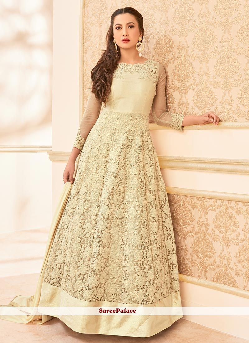 Gauhar khan cream embroidered work anarkali salwar suit anarkali