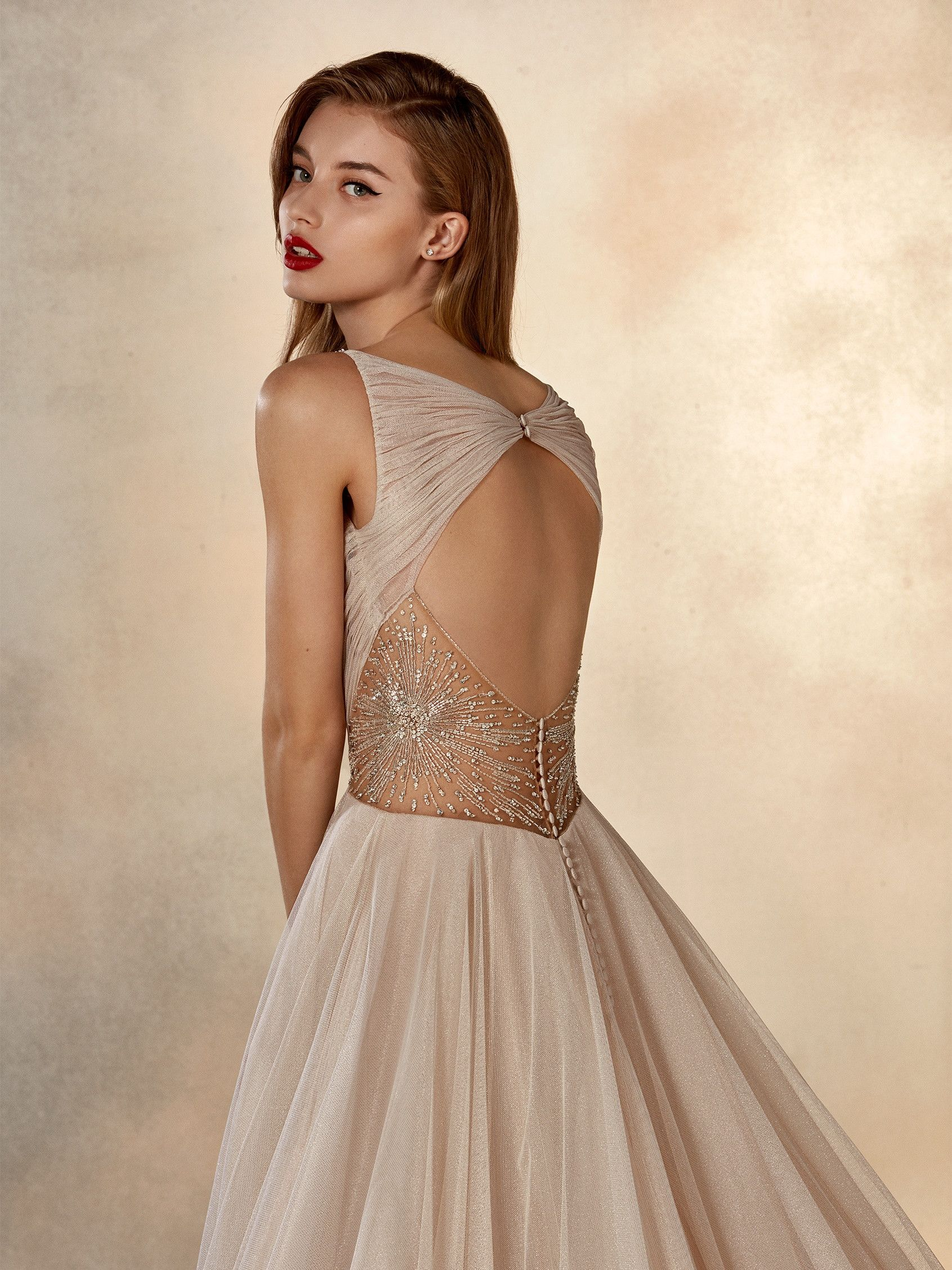 Stunning keyhole back princess wedding gown in lurex tulle