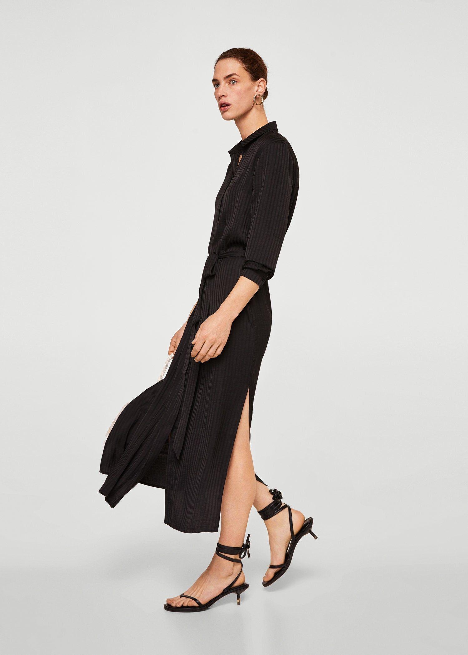 Košilové šaty s texturou - Žena  04929b7bb1b
