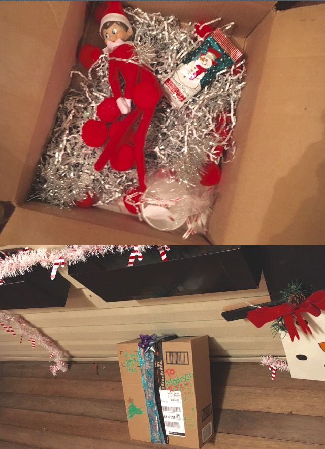 Madison was pretty exited to see the package on the door step, it was her best friend returning #elfontheshelf #elf #on #the #shelf #arrival #elfontheshelfarrival