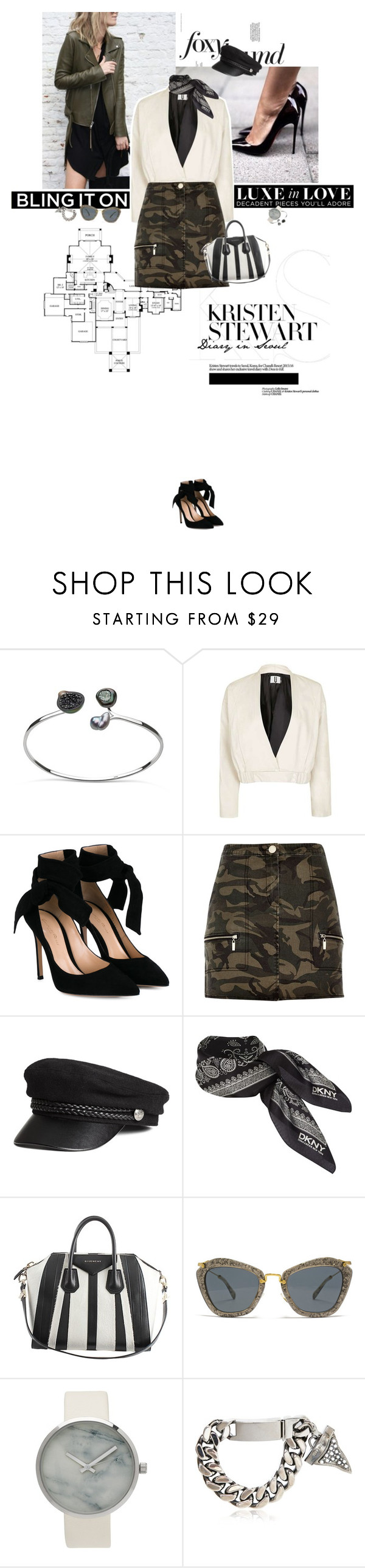 """""""Absolutely me."""" by sa3ina ❤ liked on Polyvore featuring Topshop, Gianvito Rossi, River Island, DKNY, Givenchy and Miu Miu"""