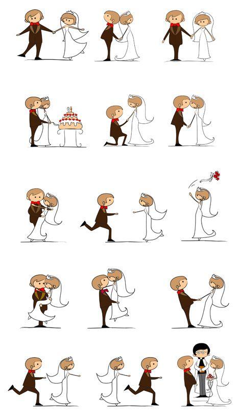 Set Of 15 Vector Wedding Cartoon Illustrations With Bride And Groom Bride Cartoon Wedding Illustration Bride And Groom Cartoon