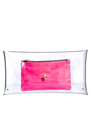 Image 1 of Klear Klutch Large Transparent Clutch Bag With Leather Pouch