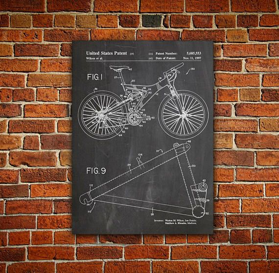 Bicycle Patent Canvas Painting Mountain Bike Poster