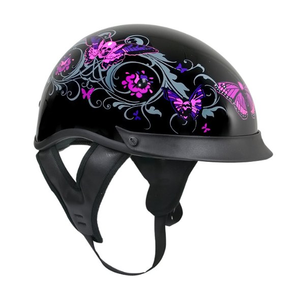 Womens Motorcycle Half Helmet With Graphics Of Flowers Motorcycle