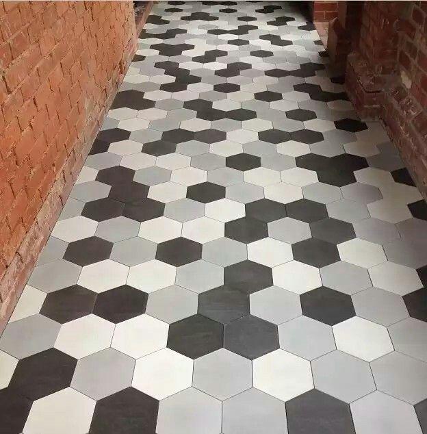 hexagon tiles black white and grey