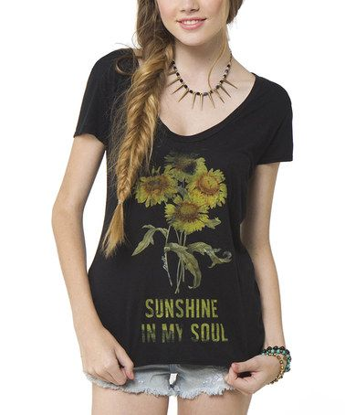 Another great find on #zulily! Black 'Sunshine in My Soul' Single Lady V-Neck Tee #zulilyfinds