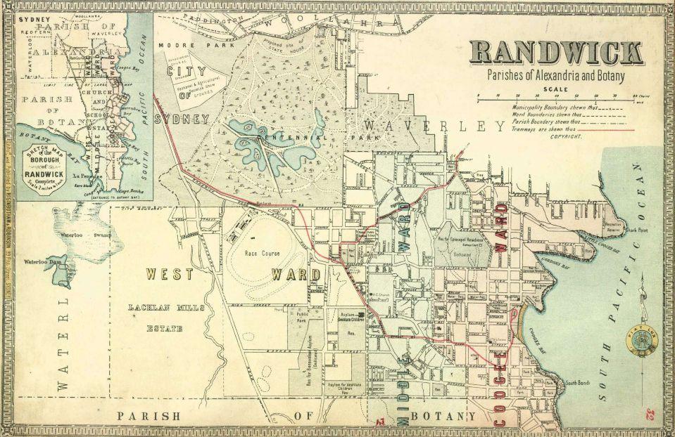 Atlas Of The Suburbs Of Sydney Randwick 1886 1888 Sydney Map Australia Map Old Maps