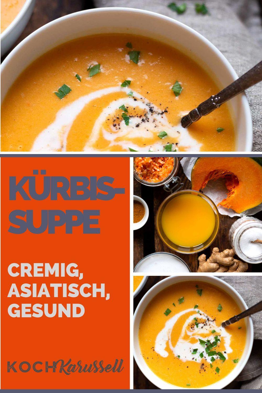 Einfache Kürbissuppe mit Kokosmilch und Ingwer 8 Min