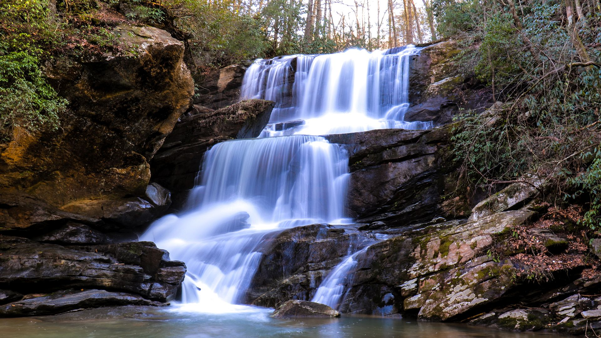 A Short Hike Along Cove Creek Gets You To This Beautiful Waterfall Hidden In The Green River Game Lands Waterfall North Carolina Waterfalls Waterfall Hikes