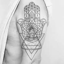 Resultado De Imagem Para Hamsa Geometric Tattoo Hamsa Hand Tattoo Tattoos Hand Tattoos