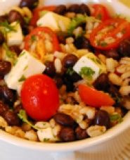 Barley and Black Bean Salad Recipe - For a different spin on salad, try this low sodium recipe. With very little cholesterol, it packs in flavor with lime juice, Monterey Jack cheese and cilantro. #recipe #salad