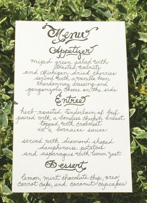 Custom Handwritten Wedding Calligraphy Menu Signs Table Tents Place Cards Dessert Or