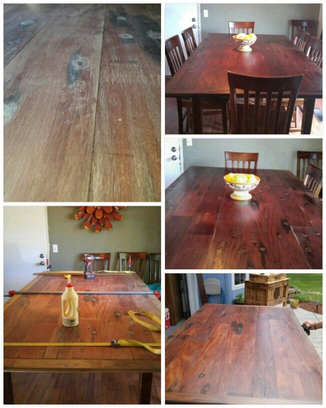 Before and After new table top Rustic Mahogany