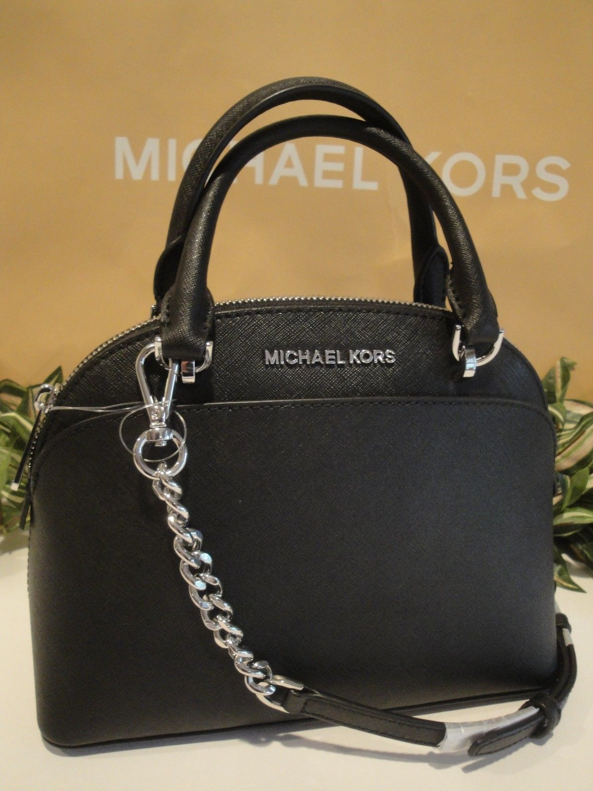 MICHAEL KORS EMMY SMALL DOME SATCHEL CROSSBODY MK BAG LEATHER BLACK SILVER   298 bf51d19ba609b