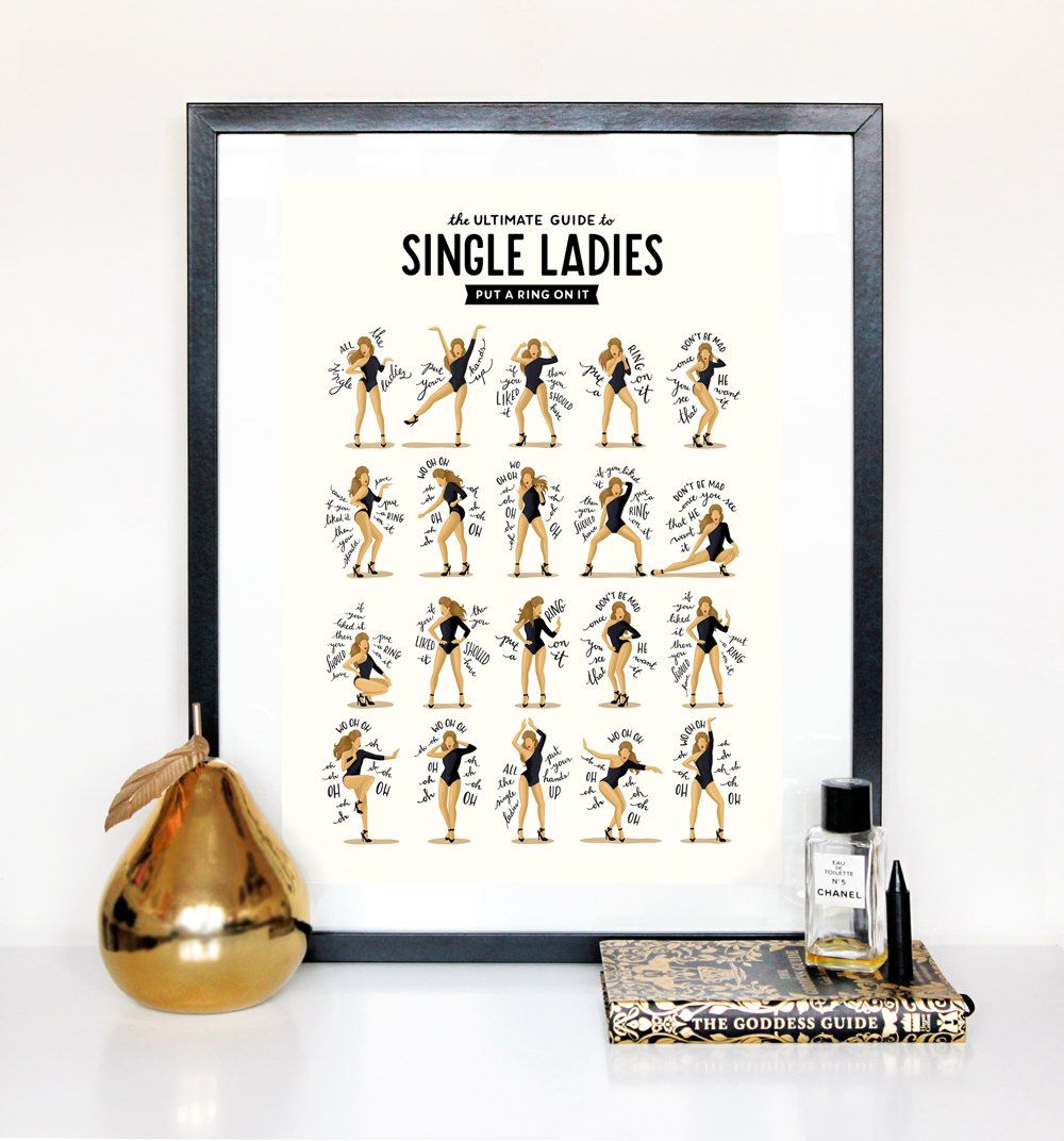Fun Single Ladies Beyonce Typography Lyrics Poster Dance Pop Song
