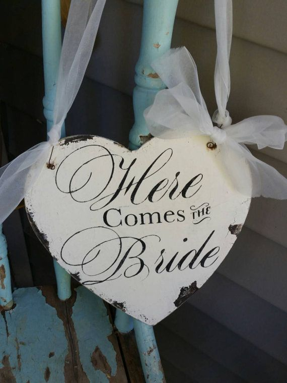 Rustic wedding Here Comes the Bride wood sign by blueyedgirl