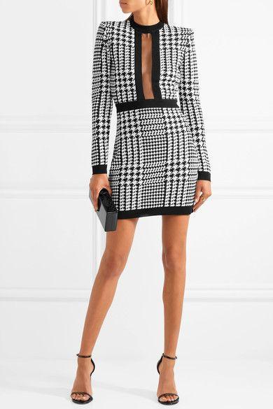 0cc6c765 BALMAIN Houndstooth elegant mesh-trimmed stretch-knit mini dress ...
