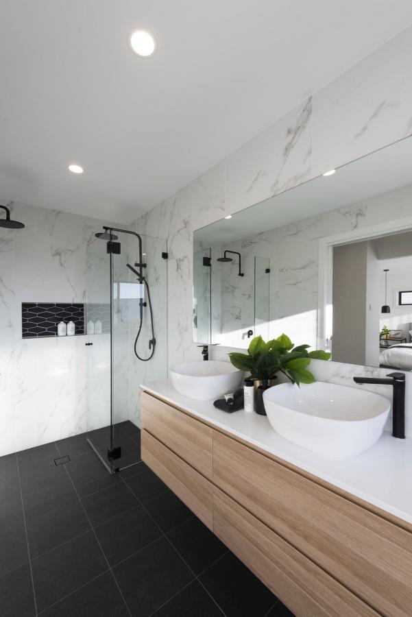 Dark Floor Tile W Light Walls Double Shower In 2019 Regarding 101 Bathroom Id Bathr In 2020 Master Bathroom Design Small Master Bathroom Ensuite Bathroom Designs