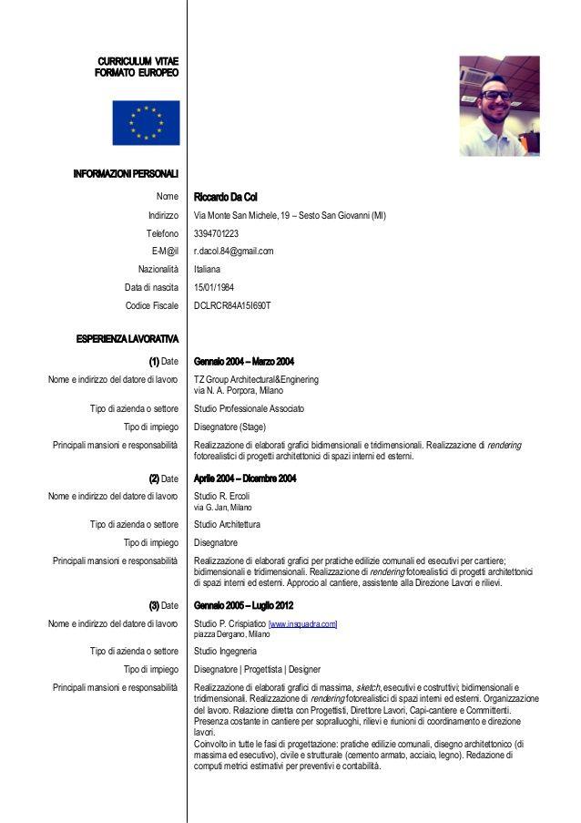 Esempio Curriculum Vitae Europeo Compilato Studente Firmakoek