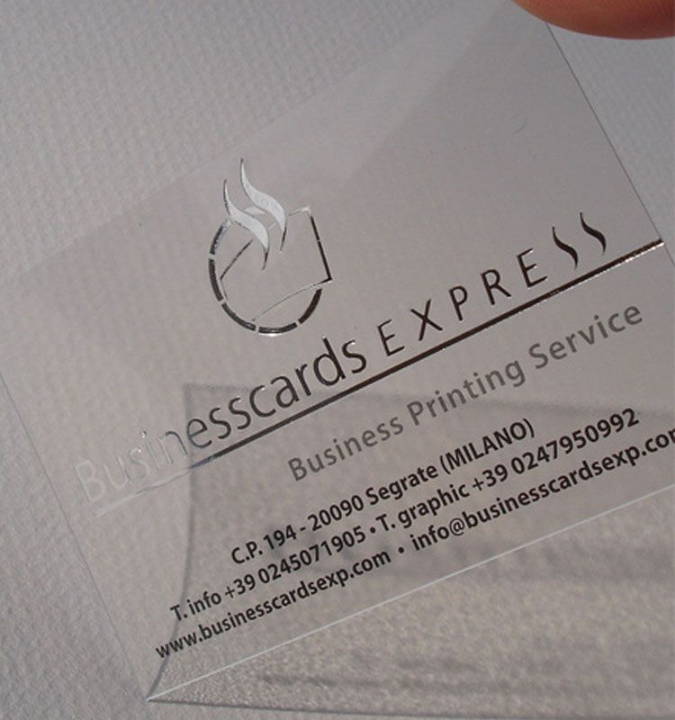 Ultra Thin Transparent Clear Business Cards with Hot Foil Stamping ...