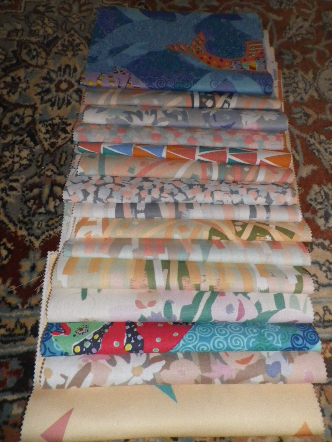Bundle of Vintage Fabric Sample Pieces from Moygashel for Patchwork & Craft (3M) by AliVintageFabric on Etsy