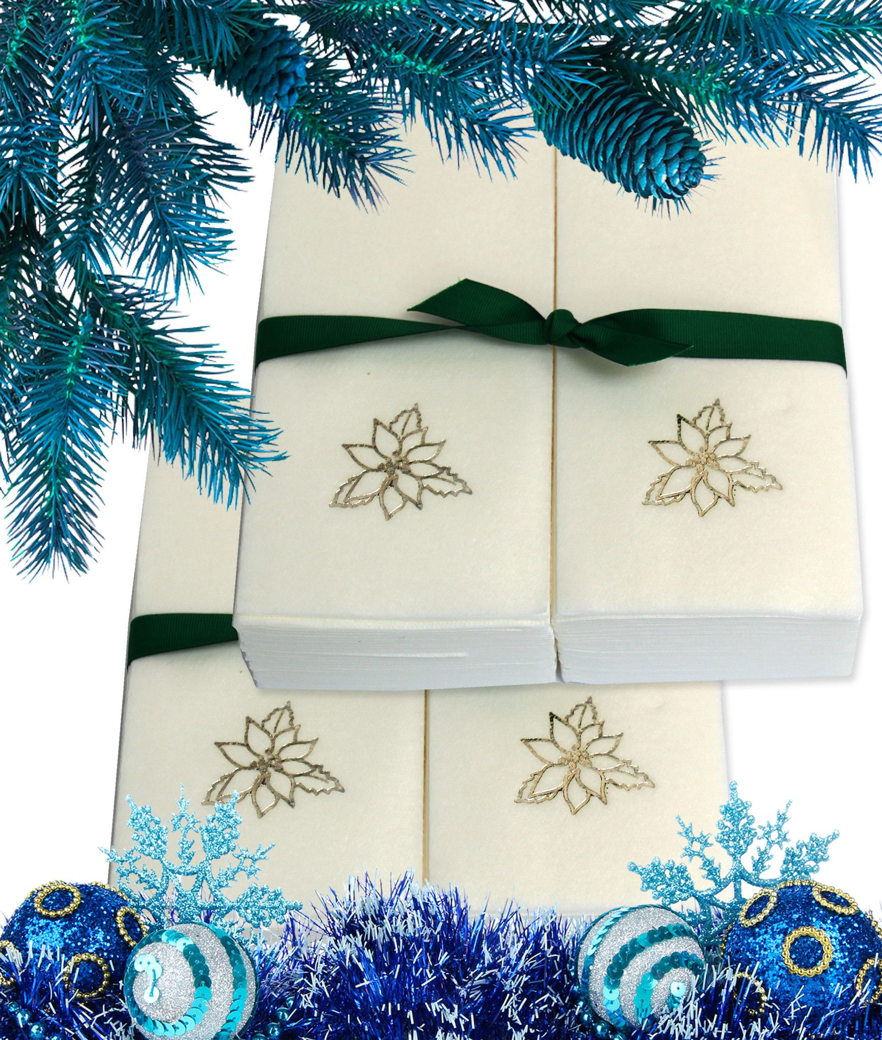 Nature's Linen Disposable Guest Hand Towels Wrapped with a Ribbon 100ct - Christmas / Holiday Collection Embossed with a Poinsettia