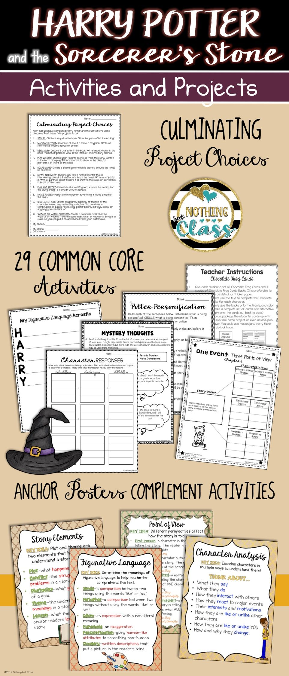 Thi 91 Page Activity Pack For Harry Potter And The Sorcerer S Stone By J K Rowling Co Lesson Classroom Reading Response Activities Literary Analysi Essay