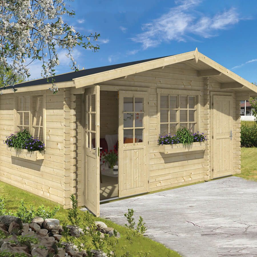 Whole Wood 150 Sq.Ft Do-It-Yourself Prefab. Log Cabin Kit