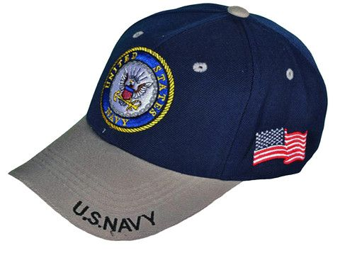 b58a021ee6a US Navy Hat Blue and Gray Baseball Cap Military Logo