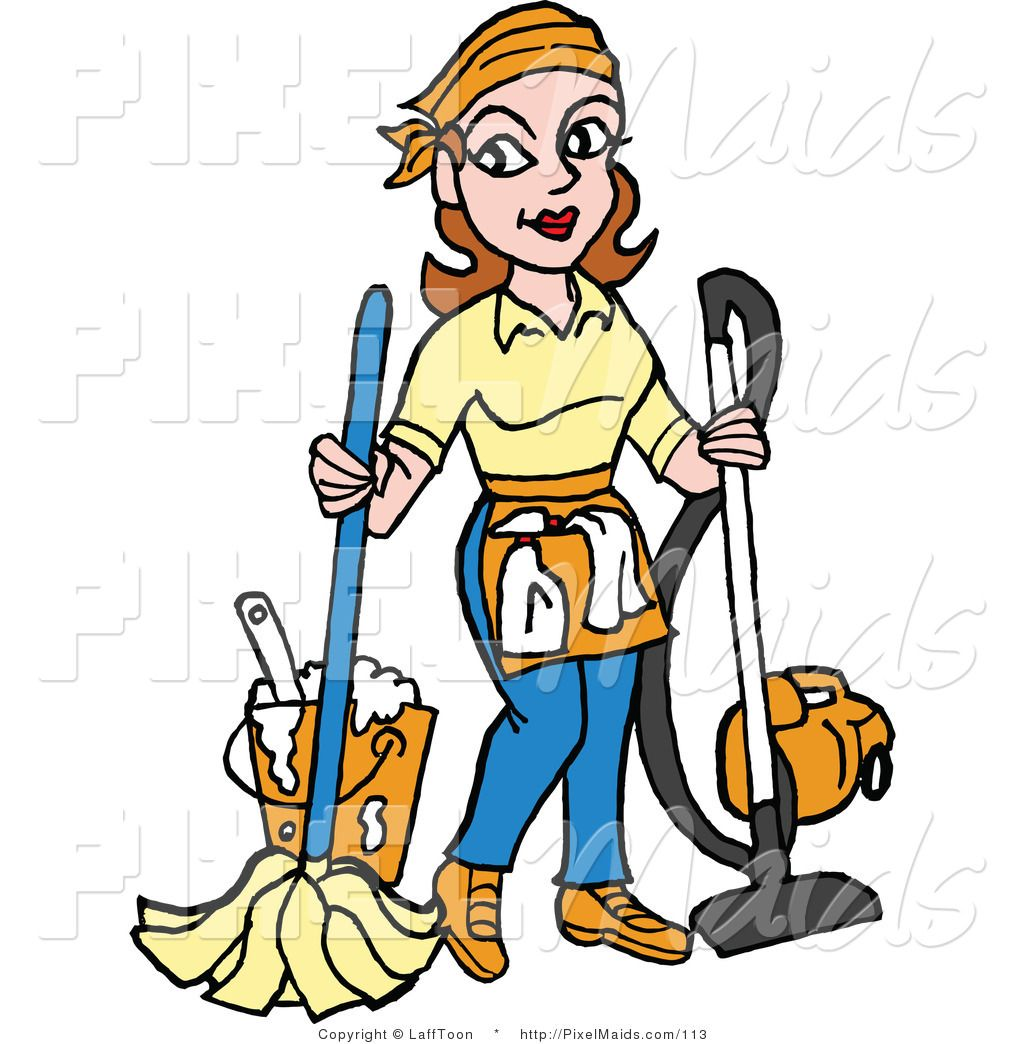 Pics Of Cartoon Maids Clipart Of A Housekeeper Mopping