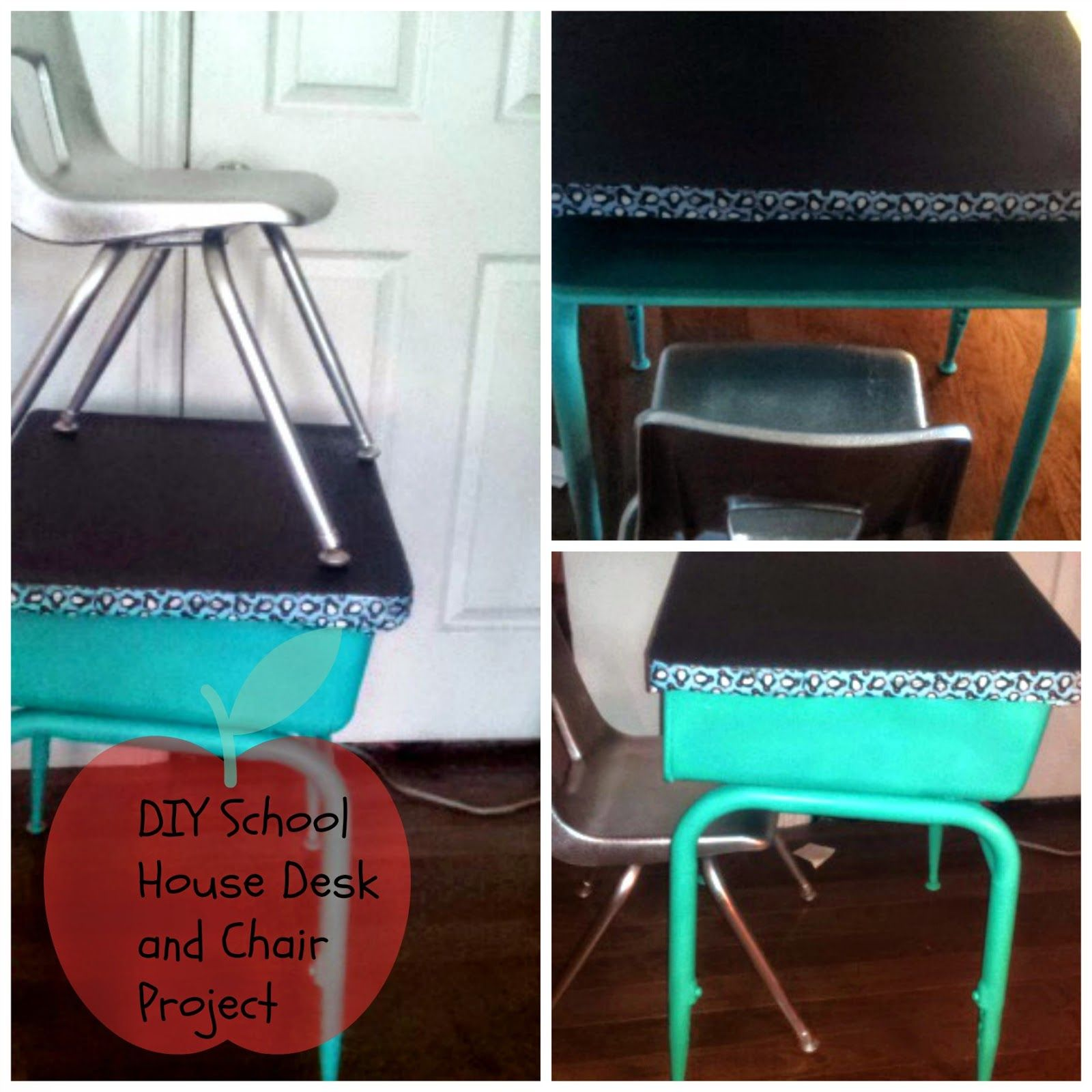 Nice Chalkboard Spray Paint Ideas Part - 5: DIY Making Over An Old School House Desk And Chair With Spray Paint And Chalkboard  Paint